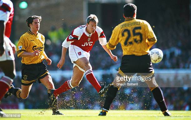Arsenal player Paul Merson in action during an FA Premier League match between Arsenal and Liverpool at Highbury on March 26 1994 in London England