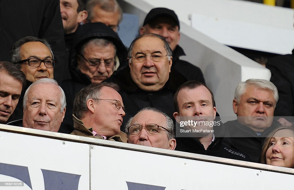 Arsenal shareholder <a gi-track='captionPersonalityLinkClicked' href=/galleries/search?phrase=Alisher+Usmanov&family=editorial&specificpeople=5595265 ng-click='$event.stopPropagation()'>Alisher Usmanov</a> before the Barclays Premier League match between Tottenham Hotspur and Arsenal at White Hart Lane on February 01, 2013 in London, England.