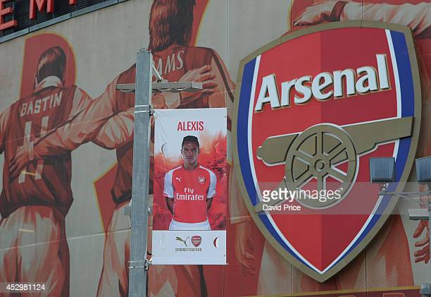 Arsenal squad flags are installed outside the stadium ahead of the new season at Emirates Stadium on July 31 2014 in London England