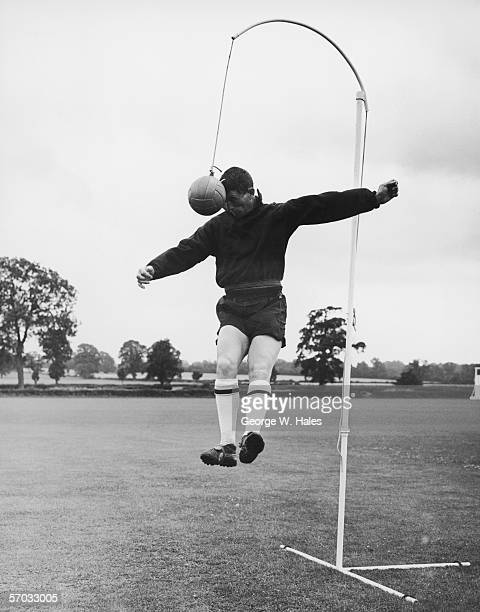Arsenal striker David Herd practising his header technique at the club's new training ground in Colney Hatch Hertfordshire 22nd July 1960