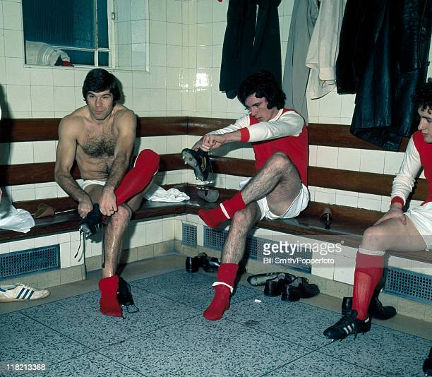 Arsenal strikers Malcolm MacDonald and Frank Stapleton getting changed prior to a match at Highbury October 1977