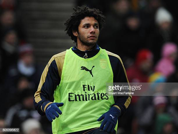Arsenal substitute Mohamed Elneny during the Barclays Premier League match between Stoke City and Arsenal at the Britannia Stadium on 17th January...