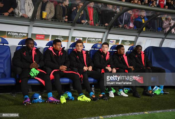 Arsenal substitutes Eddie Nketiah Marcus McGuane Vlad Dragomir Charlie Gilmore Chuba AKpom and Josh Dasilva on the bench before the UEFA Europa...