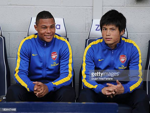 Arsenal substitutes Serge Gnabry and Ryo Miyaichi before the Barclays Premier League match between West Bromwich Albion and Arsenal FC at The...