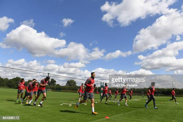 Arsenal training session at London Colney on August 18 2017 in St Albans England