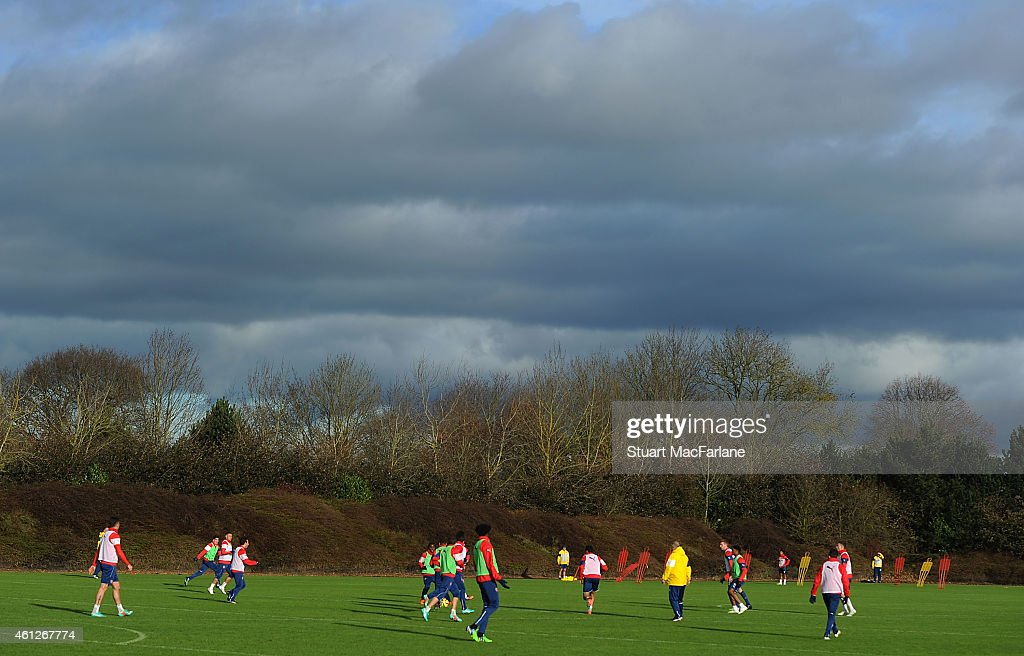 Arsenal training session at London Colney on January 10, 2015 in St Albans, England.
