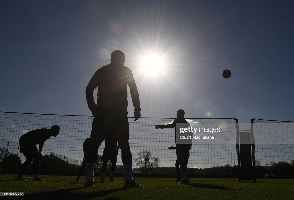 Arsenal training session at London Colney on October 27, 2017 in St Albans, England.