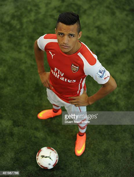 Arsenal unveil new signing Alexis Sanchez at The Arsenal training ground St Albans on July 10 2014 in London England