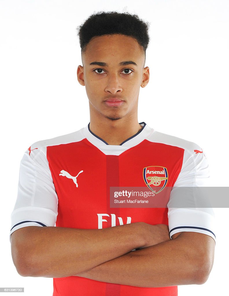 Arsenal unveil new signing Cohen Bramall at the London Colney training ground on January 5, 2017 in St Albans, England.