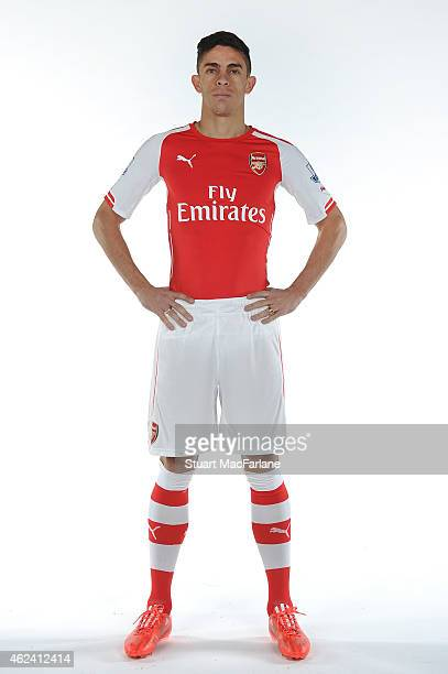 Arsenal unveil new signing Gabriel at London Colney on January 26 2015 in St Albans England