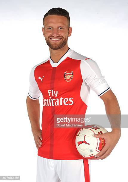 Arsenal unveil new signing Shkodran Mustafi at London Colney on August 29 2016 in St Albans England