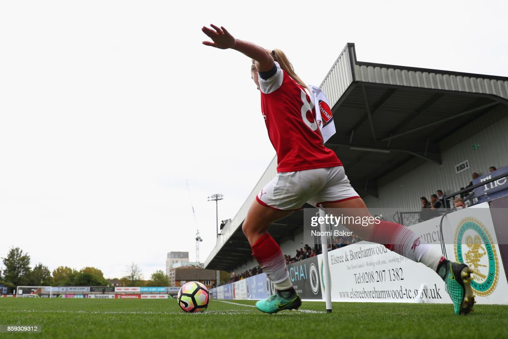 Arsenal Women's captain Jordan Nobbs takes a corner during the Women's Super League 1 match between Arsenal and Bristol City at Meadow Park, Boreham Wood on October 8, 2017 in London, United Kingdom.