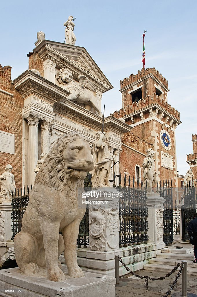 Arsenale door with the famous stone lions : Stock Photo