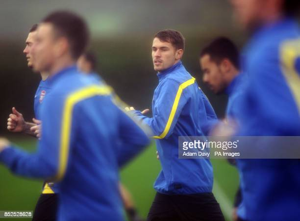 Arsenal's Aaron Ramsey during a training session at London Colney St Albans
