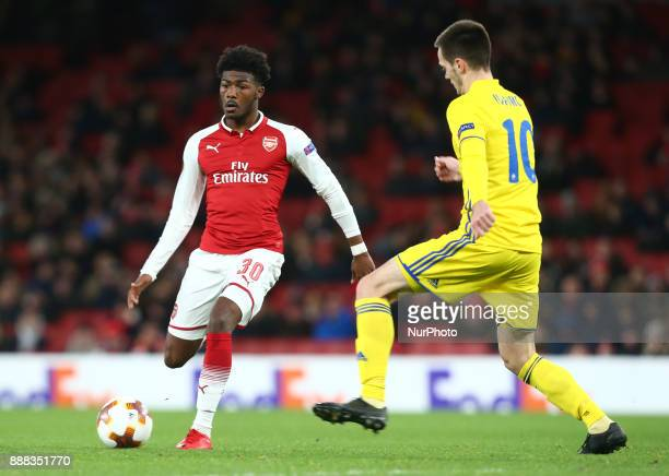 Arsenal's Ainsley MaitlandNiles during UEFA Europa League Group H match between Arsenal and BATE Borisov at The Emirates London 7 Dec 2017