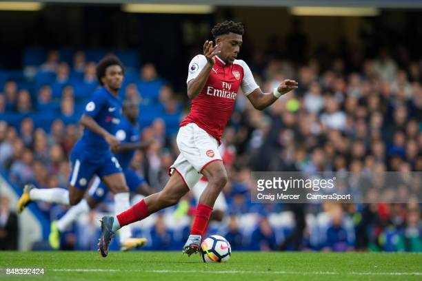Arsenal's Alex Iwobi in action during the Premier League match between Chelsea and Arsenal at Stamford Bridge on September 17 2017 in London England