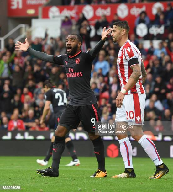 Arsenal's Alex Lacazette appeals after his goal is dissalowd during the Premier League match between Stoke City and Arsenal at Bet365 Stadium on...