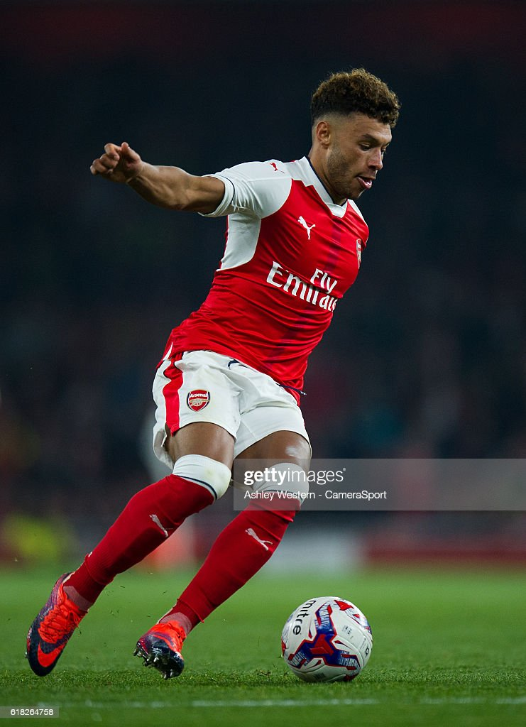 Arsenal's Alex Oxlade-Chamberlain in action during todays match during the EFL Cup 4th Round match between Arsenal and Reading at Emirates Stadium on October 25, 2016 in London, England.