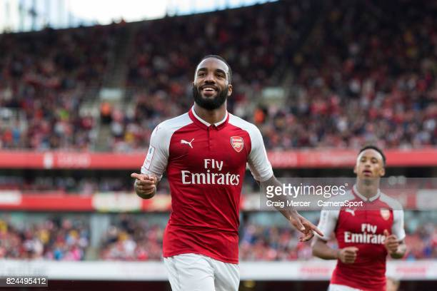 Arsenal's Alexandre Lacazette celebrates scoring his side's first goal during the Emirates Cup match between Arsenal and Sevilla FC at Emirates...