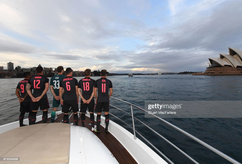 Arsenal's Alexandre Lacazette, Olivier Giroud, Petr Cech, Laurent Koscielny, Nacho Monreal and Mesut Ozil at the launch of the new 3rd kit on July 12, 2017 in Sydney, New South Wales.