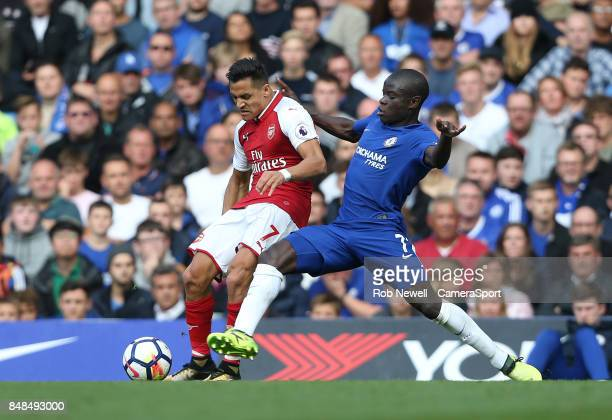 Arsenal's Alexis Sanchez and Chelsea's Ngolo Kante during the Premier League match between Chelsea and Arsenal at Stamford Bridge on September 17...