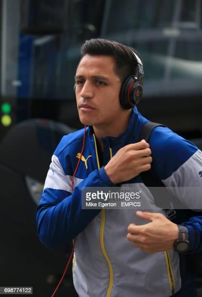 Arsenal's Alexis Sanchez arrives at the ground