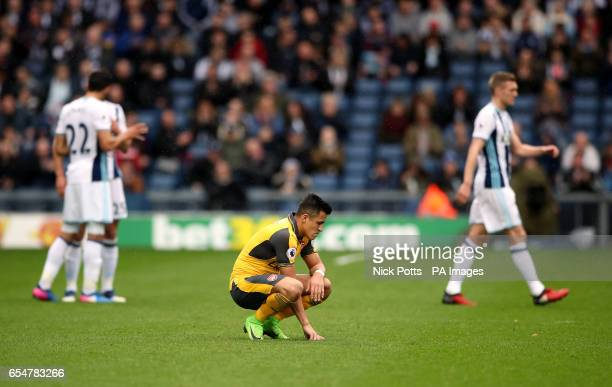 Arsenal's Alexis Sanchez as Arsenal goalkeeper Petr Cech receives treatment for an injury during the Premier League match at The Hawthorns West...