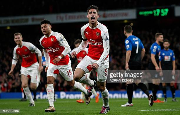 Arsenal's Brazilian defender Gabriel celebrates after scoring the opening goal of the English Premier League football match between Arsenal and...