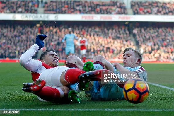 TOPSHOT Arsenal's Brazilian defender Gabriel vies with Burnley's English defender Ben Mee during the English Premier League football match between...