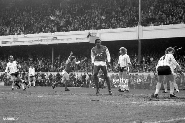Arsenal's Charlie Nicholas celebrates scoring Notts County Pedro Richards Iain McCulloch Brian Kilcline and David Clarke