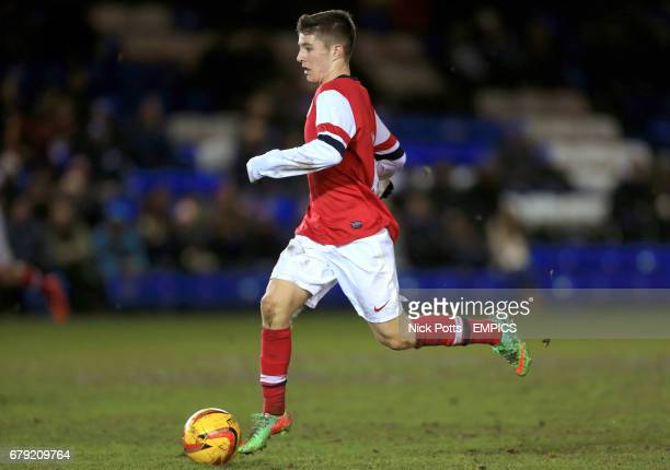 Arsenal's Daniel Crowley on the ball against Peterborough United