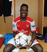 Arsenal's Danny Welbeck with the matchball after his hattrick in the Champions League match between Arsenal and Galatasaray at Emirates Stadium on...