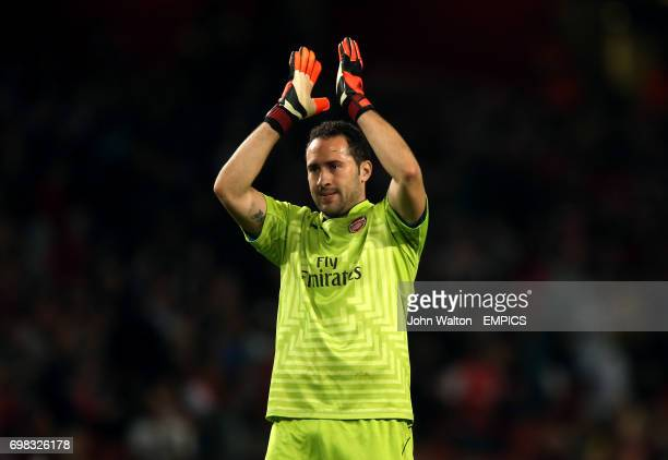 Arsenal's David Ospina applauds the fans after the game
