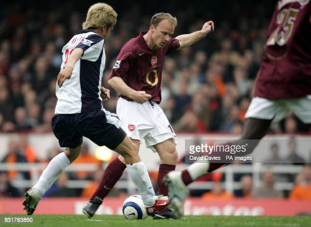 Arsenal's Denis Bergkamp scores during the Barclays Premiership match against West Bromwich at Highbury Stadium London