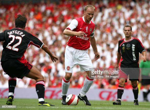 Arsenal's Dennis Bergkamp in action during the his Testimonial match against Ajax at Emirates Stadium London