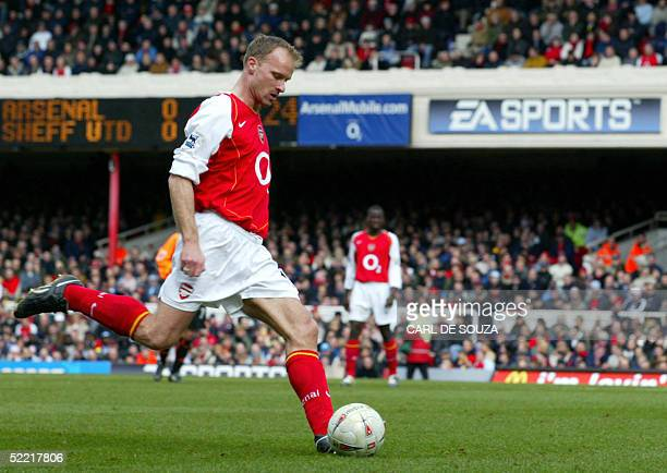 Arsenal's Dennis Bergkamp takes a shot at goal during their Premiership FA cup against Sheffield United at Arsenals Highbury grounds 19 February 2005...