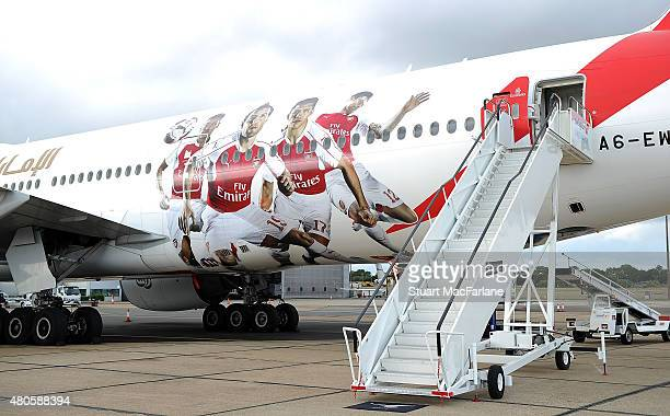 Arsenal's Emirates plane as they travel to Singapore for the Barclays Asia Trophy at Stansted Airport on July 12 2015 in London England