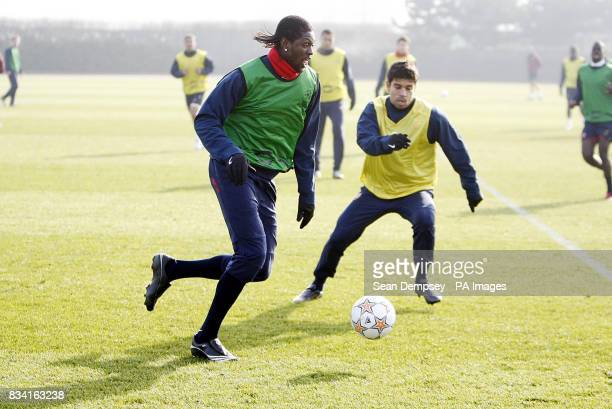 Arsenal's Emmanuel Abebayor Alves da Silva Eduardo during a training session at London Colney Hertfordshire