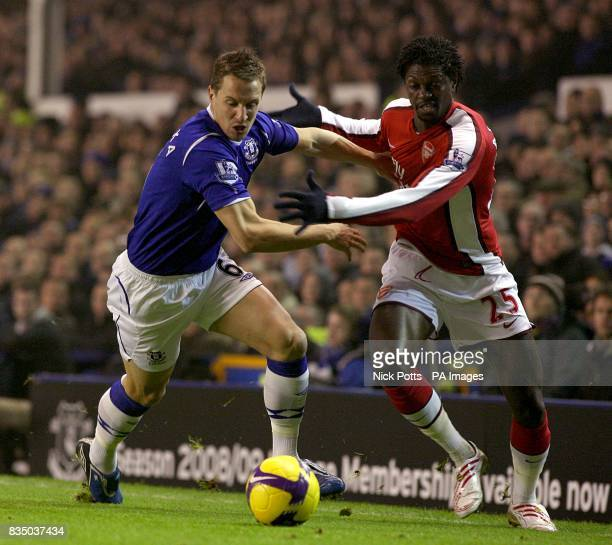 Arsenal's Emmanuel Adebayor and Everton's Phil Jagielka battle for the ball