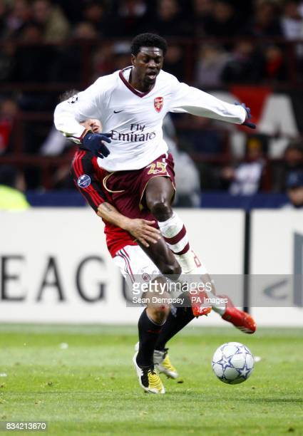 Arsenal's Emmanuel Adebayor trys to get past AC Milan's Gennaro Gattuso during the UEFA Champions League match at San Siro Milan Italy
