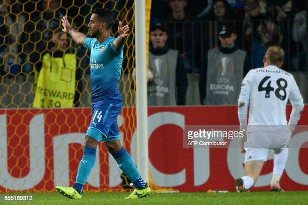 Arsenal's forward from England Theo Walcott celebrates after scoring a goal during the UEFA Europa League Group H football match between FC BATE...