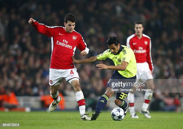 Arsenal's Francesc Fabregas and Fenerbahce's Claudio Maldonado battle for the ball