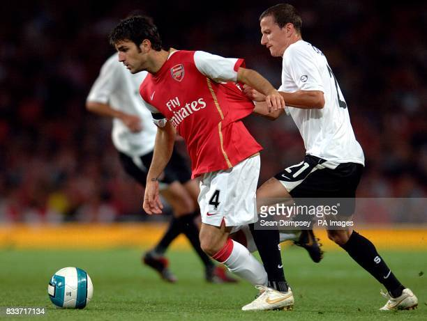 Arsenal's Francesc Fabregas and Sparta Prague's Igor Zofcak battle for the ball