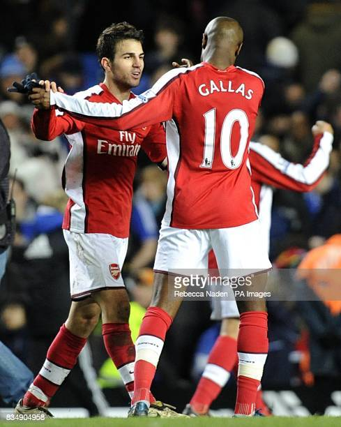 Arsenal's Francesc Fabregas and William Gallas celebrate after the final whistle
