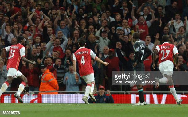 Arsenal's Francesc Fabregas celebrates after scoring their second goal of the match