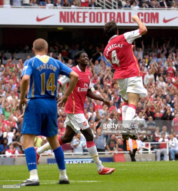 Arsenal's Francesc Fabregas celebrates his goal during the Barclays Premier League match at the Emirates Stadium London