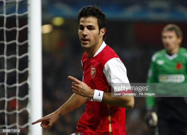 Arsenal's Francesc Fabregas celebrates scoring during the UEFA Champions League Group E match at the Emirates Stadium London