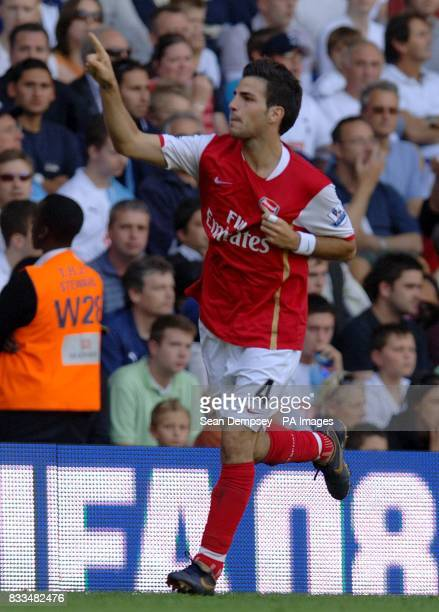 Arsenal's Francesc Fabregas celebrates scoring his sides second goal of the game