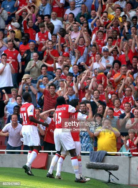 Arsenal's Francesc Fabregas celebrates scoring their second goal