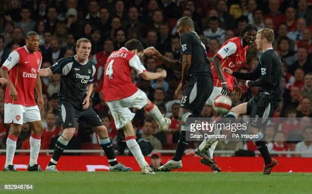 Arsenal's Francesc Fabregas scores their second goal of the match